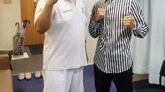 K-1の山崎秀晃選手が院に治療に来てくれました。
